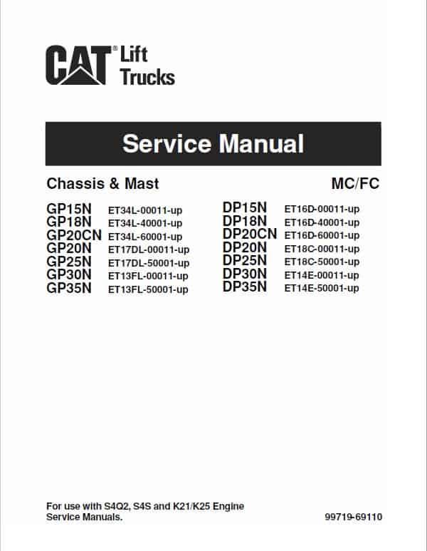 CAT DP15N, DP18N, DP20CN, DP20N Forklift Lift Truck Service Manual