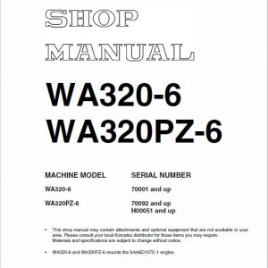 Komatsu WA320-6, WA320PZ-6 Wheel Loader Service Manual