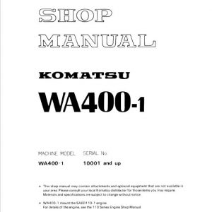 Komatsu WA400-1 Wheel Loader Service Manual