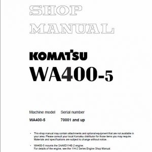 Komatsu WA400-5 Wheel Loader Service Manual