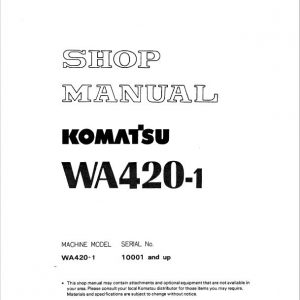 Komatsu WA420-1 Wheel Loader Service Manual