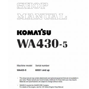 Komatsu WA430-5 Wheel Loader Service Manual
