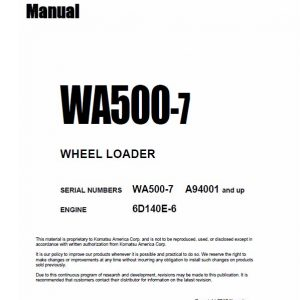 Komatsu WA500-7 Wheel Loader Service Manual