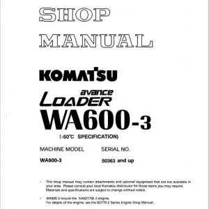 Komatsu WA600-3 Wheel Loader Service Manual