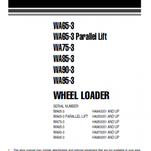Komatsu WA65-3, WA90-3, WA95-3 Wheel Loader Service Manual