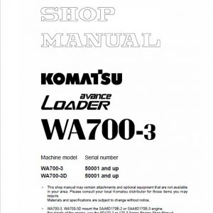 Komatsu WA700-3 Wheel Loader Service Manual