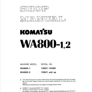 Komatsu WA800-1, WA800-2 Wheel Loader Service Manual