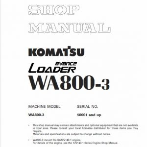 Komatsu WA800-3, WA800-3E0 Wheel Loader Service Manual