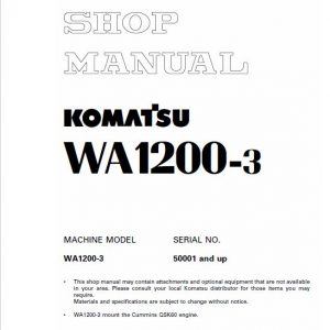 Komatsu WA1200-3 Wheel Loader Service Manual
