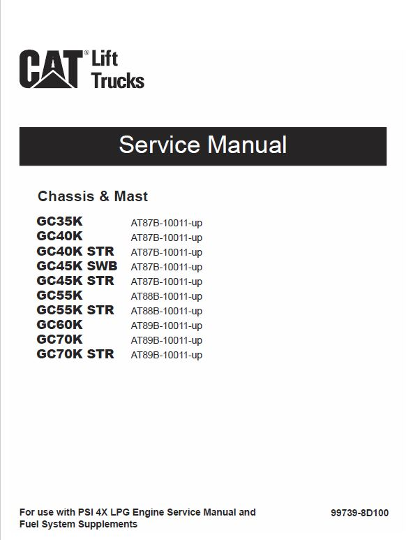 CAT GC35K, GC40K, GC40K STR, GC45K SWB, GC45K STR Lift Truck Service Manual