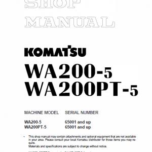 Komatsu WA200-5H, WA200PT-5L, WA200-5L, WA200-5 Loader Service Manual