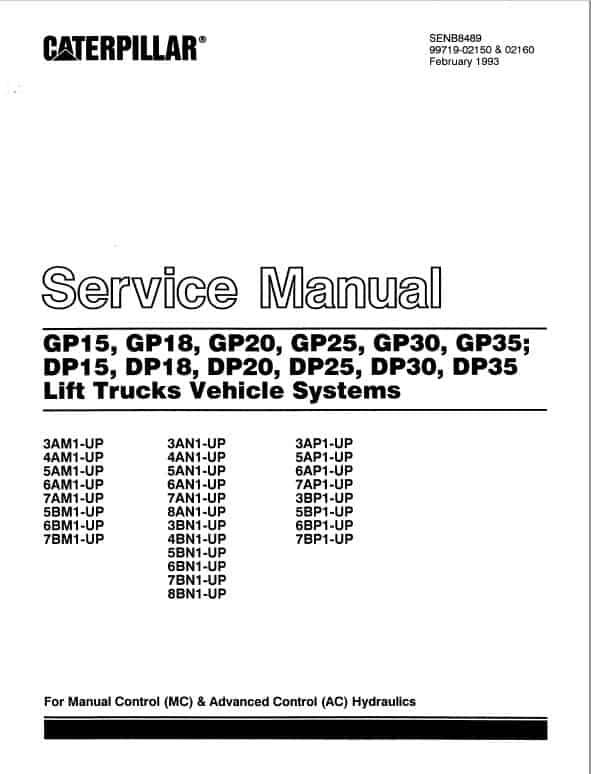 CAT GP15, GP18, GP20, GP25, GP30, GP35 Forklift Lift Truck Service Manual
