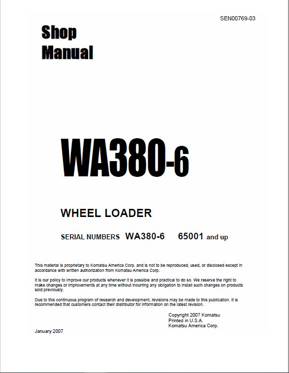 Komatsu WA380-6 Wheel Loader Service Manual