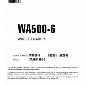 Komatsu WA500-6 Wheel Loader Service Manual