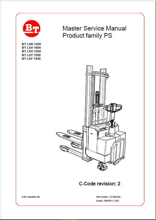 BT LSR 1200, LSV 1250, LSF 1250, LST 1350, LSV 1600 Pallet Truck Manual