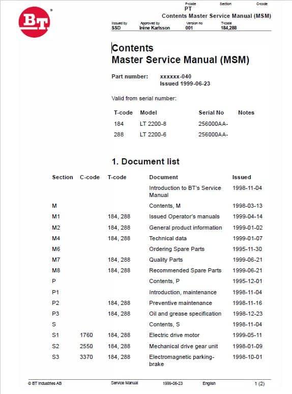 BT LT 2200-6, LT 2200-8 Pallet Truck Service Manual