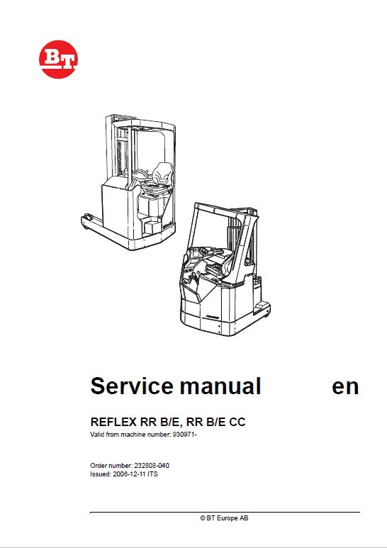 BT Reflex RR BE, RR BE CC Reach Trucks Service Manual