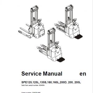 BT SPE125, SPE125L, SPE135S, SPE160, SPE200, SPE200L Pallet Truck Manual