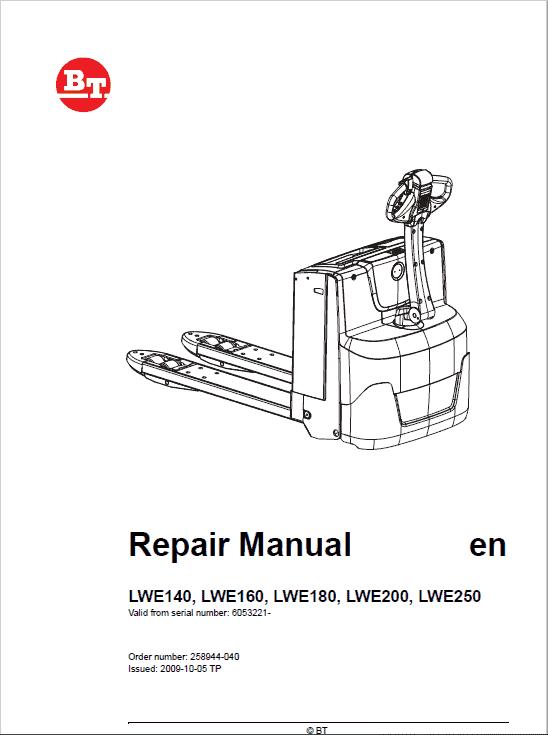 BT LWE140, LWE160, LWE180, LWE200, LWE250 Pallet Truck Manual