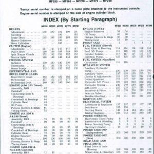 Massey Ferguson MF 255, MF 265, MF 270, MF 275, MF 290 Tractor Service Manual
