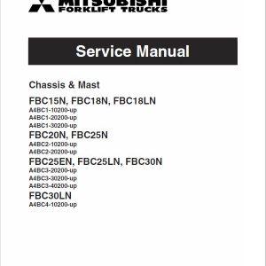 Mitsubishi FBC15N, FBC18N, FBC18LN Forklift Lift Truck Service Manual