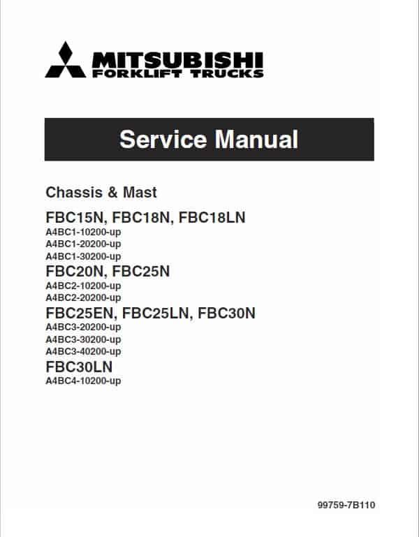 Mitsubishi FBC20N, FBC25N, FBC25EN, FBC25LN, FBC30N Forklift Service Manual