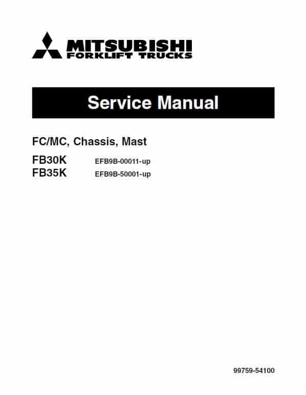 Mitsubishi FB30K, FB35K Forklift Lift Truck Service Manual