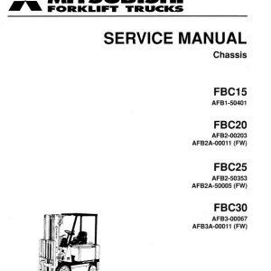 Mitsubishi FBC15, FBC20, FBC25, FBC20 Forklift Lift Truck Service Manual