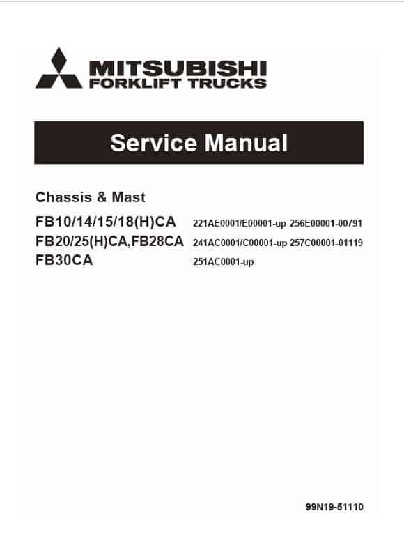 Mitsubishi FB20CA, FB20HCA, FB25CA, FB25HCA Forklift Service Manual