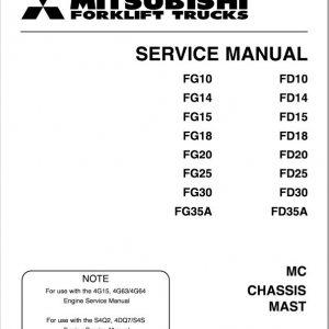 Mitsubishi FD20, FD25, FD30, FD35A Forklift Service Manual
