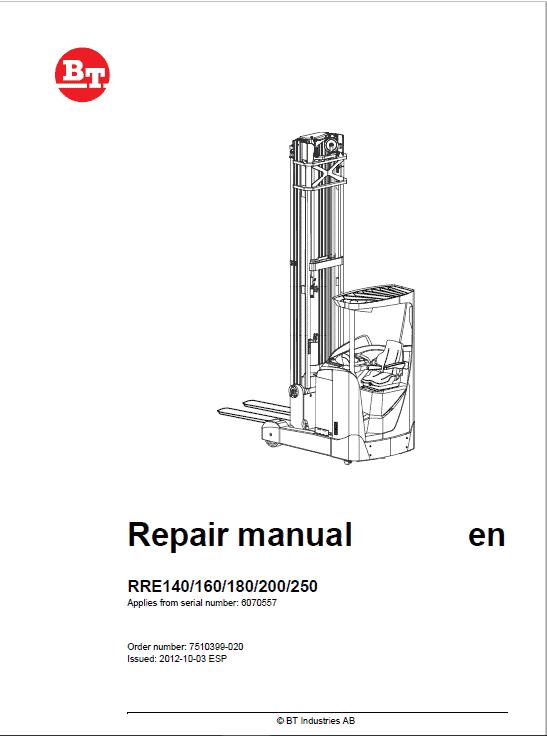 BT RRE140, RRE160, RRE180, RRE200, RRE250 Reach Truck Service Manual