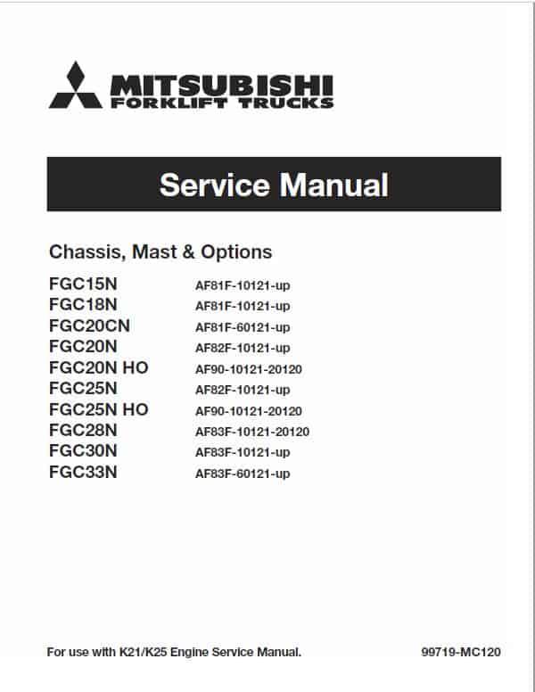 Mitsubishi FGC15N, FGC18N, FGC20CN, FGC20N, FGC20N HO Forklift Service Manual