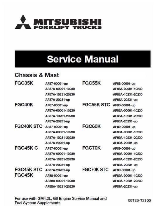 Mitsubishi FGC35K, FGC40K, FGC40K STC Forklift Service Manual