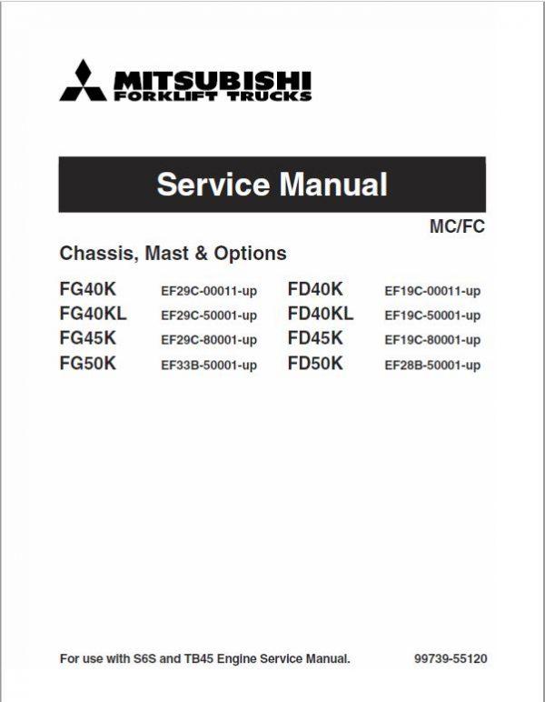 Mitsubishi FG40K, FG40KL, FG45K, FG50K Forklift Service Manual