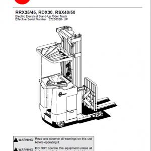 BT RRX35, RRX45, RDX30, RSX40, RSX50 Rider Truck Service Manual