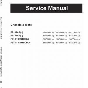 Mitsubishi FB13TBCB, FB18TBCB, FB20TBCB Forklift Service Manual
