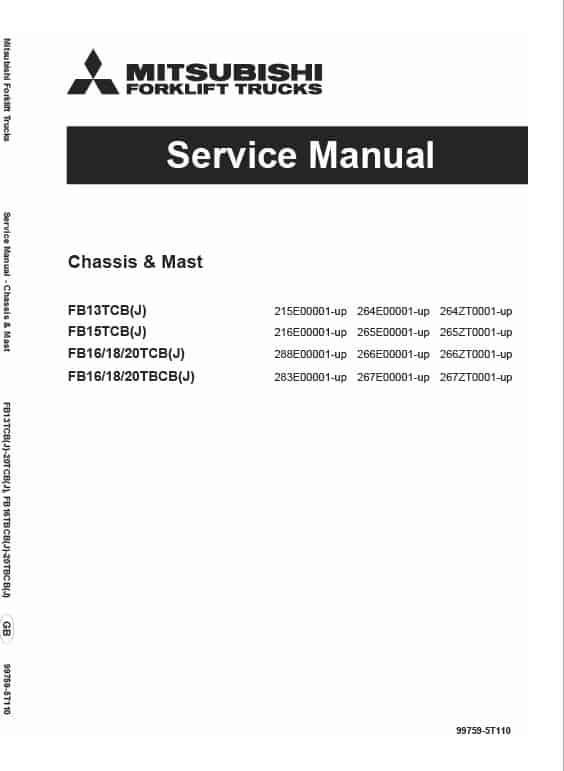 Mitsubishi FB13TCB, FB15TCB, FB16TCB, FB18TCB, FB20TCB Forklift Service Manual