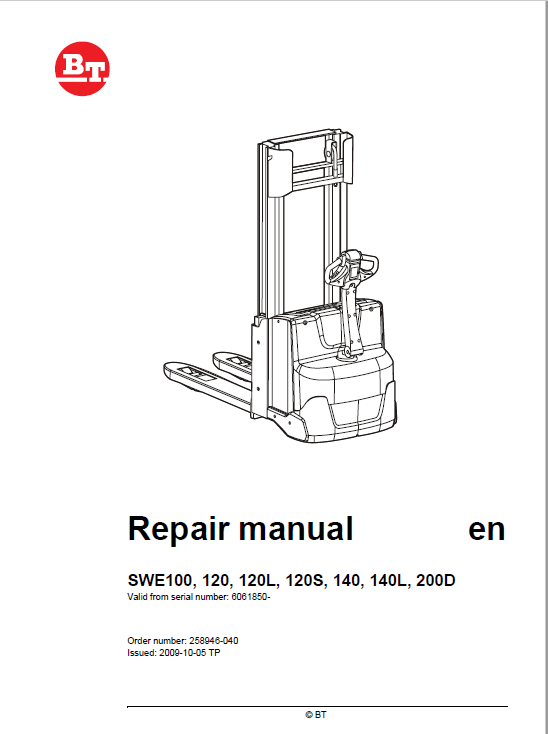 BT SWE100, SWE120, SWE120L, SWE120S, SWE140, SWE140L, SWE200D Service Manual