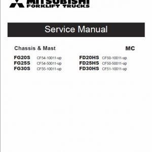 Mitsubishi FD20HS, FD25HS, FD30HS Forklift Lift Truck Service Manual