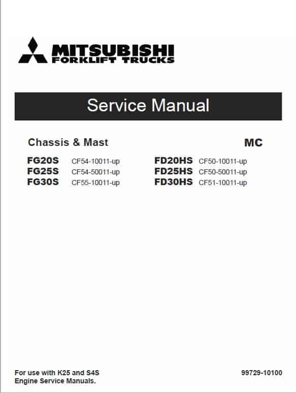 Mitsubishi FG20S, FG25S, FG30S Forklift Lift Truck Service Manual