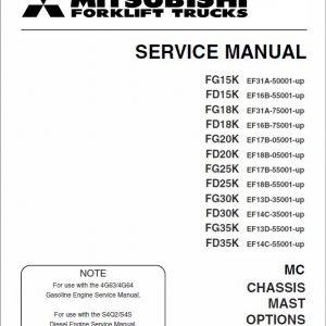 Mitsubishi FD15K, FD18K, FD20K, FD25K, FD30K, FD35K Forklift Service Manual