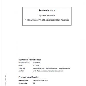 Liebherr R906, R916, R926 Classic & Advance Excavator Service Manual