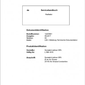 Liebherr L566 Type 1619 Wheel Loader Service Manual