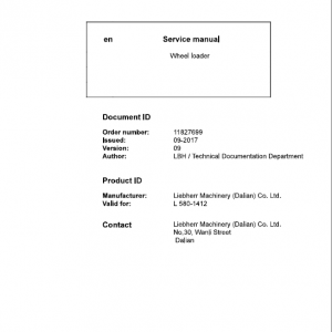 Liebherr L580 Type 1412 Wheel Loader Service Manual