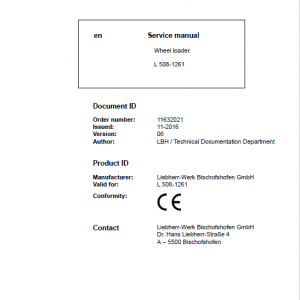 Liebherr L508 Type 1261 Wheel Loader Service Manual