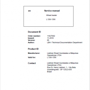 Liebherr L538 Type 1356 Wheel Loader Service Manual