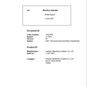 Liebherr L538 Type 1493 Wheel Loader Service Manual