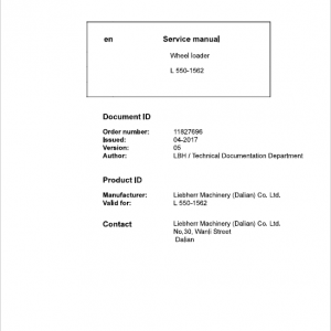 Liebherr L550 Type 1562 Wheel Loader Service Manual