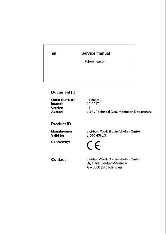 Liebherr L580 Type 459LG LogHandler Loader Service Manual