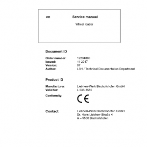 Liebherr L538 Type 1559 Wheel Loader Service Manual